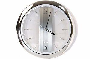 "Chrome Wall Clock 11"" inch Round Quartz Clock Silver Modern Home Garage Office"