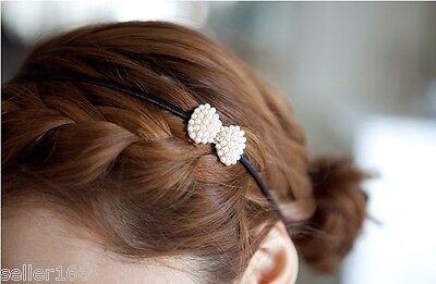 Fashion Korean Style Women Pearls Bow Hairband Headband Hair Accessories