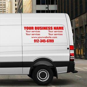 PAIR Van Car Truck Window Custom Vinyl Decal Lettering Sticker - Custom vinyl decal stickers   for business