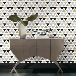 Details About Gold Gray Black And White Chic Geometric Triangle Peel And Stick Wallpaper Diy