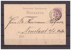 Empire-Allemand-Entier-Postal-P-18-Freiburg-apres-Neustadt-le-Orla-17-08-1889