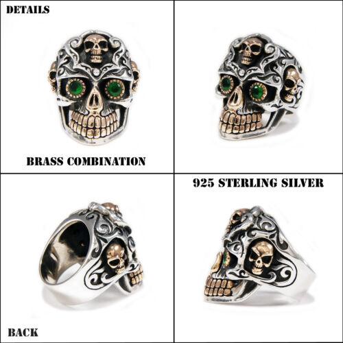 Ojos Verdes cementerio de Azúcar Cráneo 925 Sterling Silver Anillo Gótico Motorista jo-r019