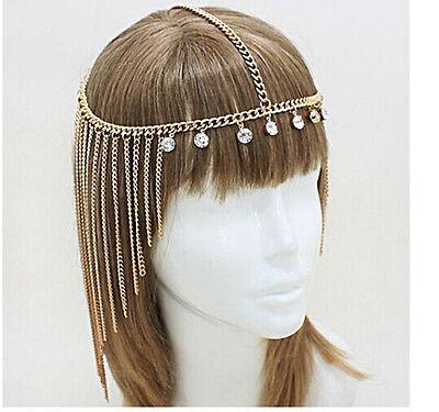 New Boho Crystal Gold Wedding Headdress Headband Head Band Crown Chain Headpiece