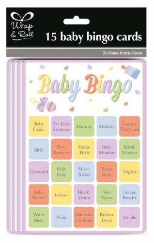 Baby Shower 15 Bingo Cards Fun Game Gender Reveal Party Supplies Boys Girls