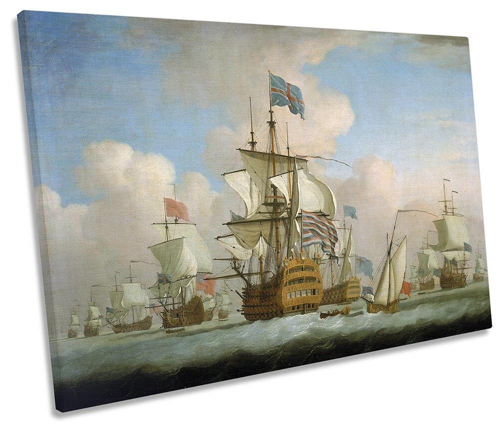 Peter Monamy English Fleet Anchor Picture SINGLE CANVAS WALL ART Print