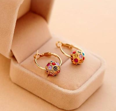 Fashion 1pair Women Rotate Lucky Beads Crystal Rhinestone Ear Stud Earrings DICA