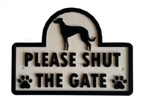 3D-casa jardín puerta Cartel De Pared Lurcher-por favor cierra la puerta Placa De Perro