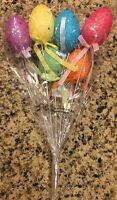 Easter Eggs S/6 Picks Wreath Swag Floral Centerpiece Decor Spray Foiled Bunny Lg