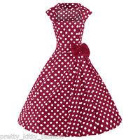 PRETTY KITTY ROCKABILLY 50s RED POLKA VINTAGE STYLE SWING PROM DRESS 8-24 PLUS