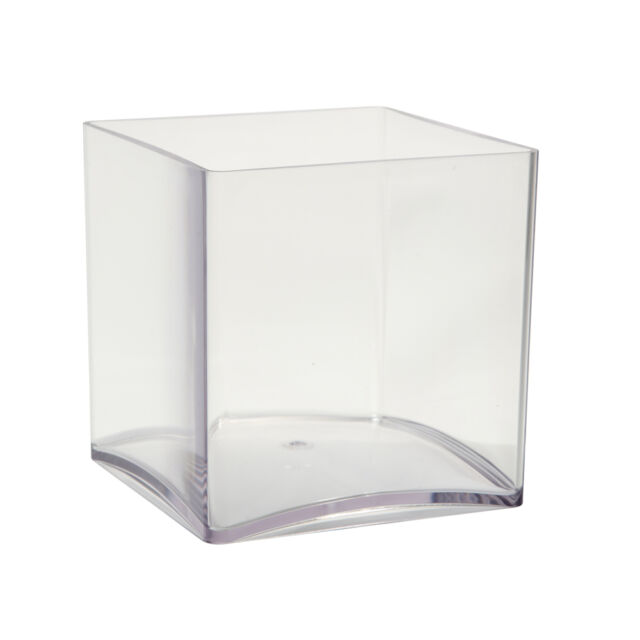 15cm Clear Acrylic Cube Vase Small Lightweight Durable Plastic Design Container