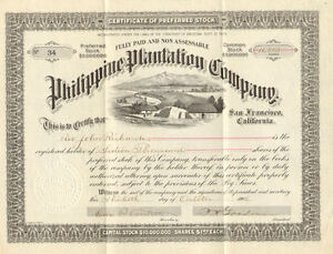 Image is loading Philippine-Plantation-Company-gt-1906-stock-certificate -issued-