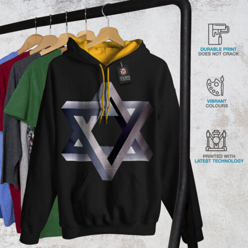 Jewish Casual Jumper Wellcoda Star of David Mens Contrast Hoodie