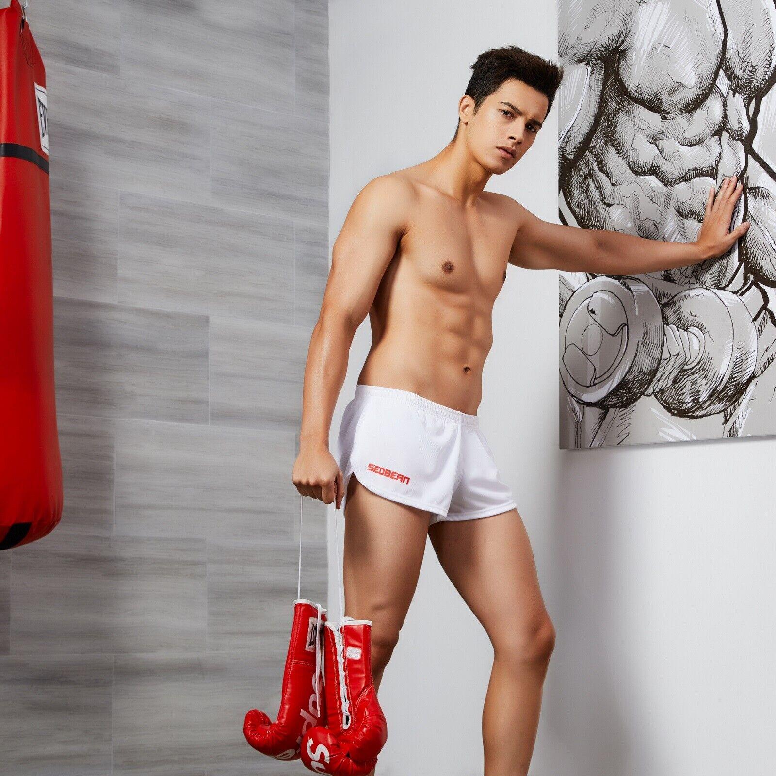 SEOBEAN Mens Low Rise Sports Soft Running Training Short Pants 4 colors