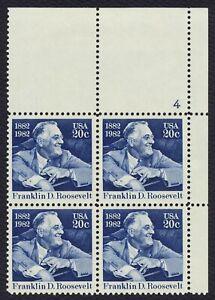 #1950 20c Franklin D Roosevelt, Placa Bloque [4 Ur ] Nuevo Cualquier 5=