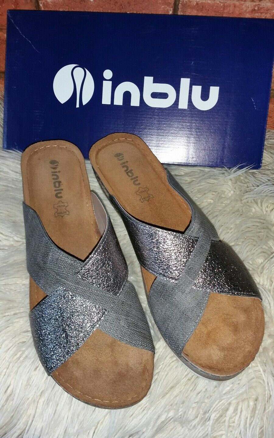 LADIES INblue GREY ANTRACYT SLIP ON WEDGE SANDALS MULES SIZE 7 (41) NEW IN BOX