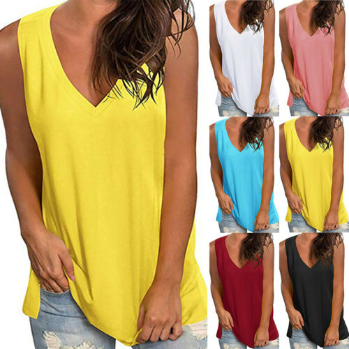 Solid Tunic Vest Ladies Casual Loose Tank Tops Women Summer Sleeveless Floral