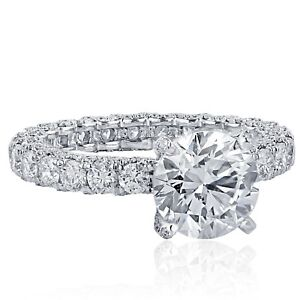 Platinum-GIA-Certified-4-55-Ct-Round-Solitaire-Diamond-Engagement-Eternity-Ring