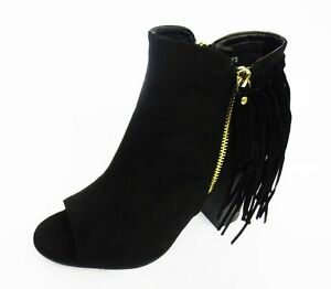 LADIES-SPOT-ON-ZIP-UP-BLACK-FRINGED-OPEN-TOE-ANKLE-BOOTS-STYLE-F10473