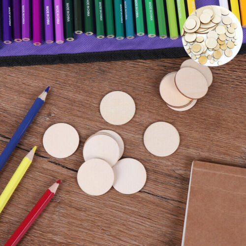 Pieces 50x Discs Blank Crafts Wood Unfinished DIY Round Slice Natural Wooden