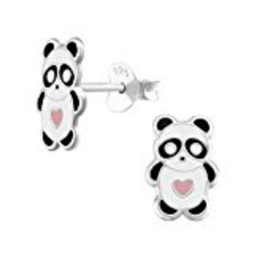 Childrens Girls Sterling Silver Panda Bear Stud Earrings New Gift Boxed