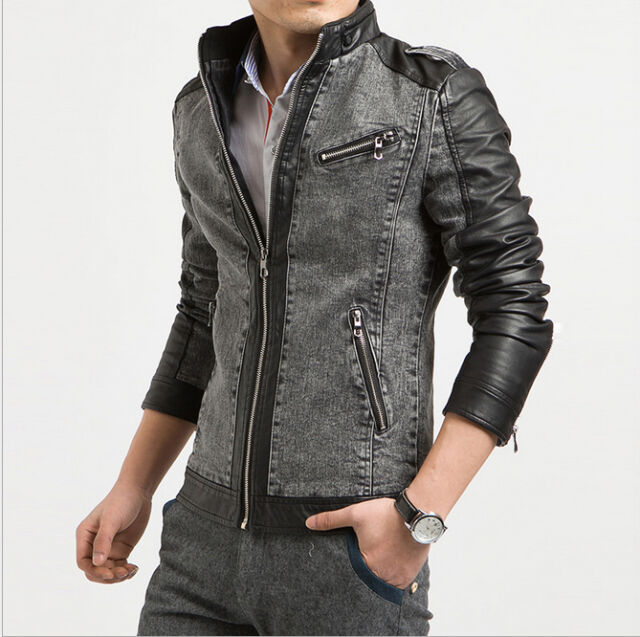 New Mens Black Denim PU Leather Long Zip Slim Fit Stand Collar Jean Jacket Coat
