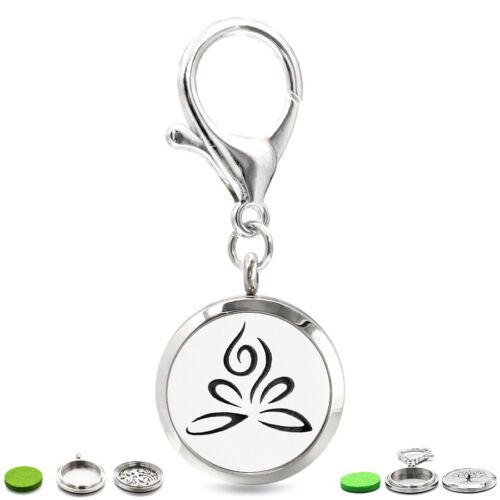 30 mm Twist Médaillon Keychain Parfum Huile Essentielle Aromathérapie Diffuseur 10 pads