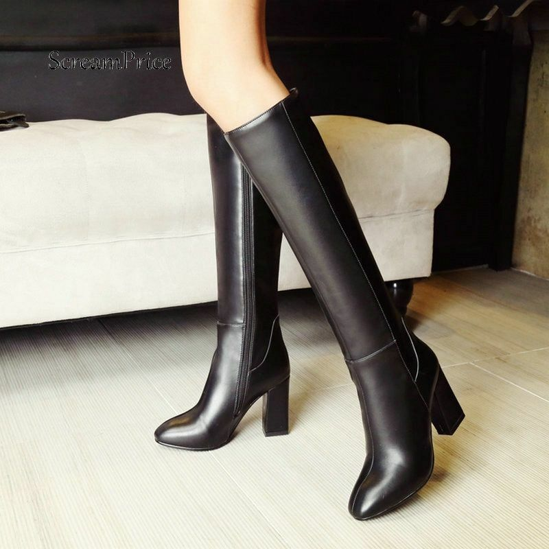 Women Knee High Boots Warm Short Plush Side Zipper Comfortable Square Heel shoes