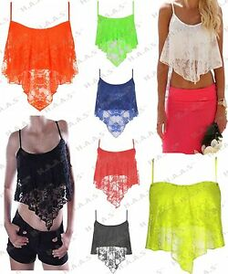 Womens Lace Cami Top Floral Lace Strappy Crop Top Shirt handkerchief vest Girls