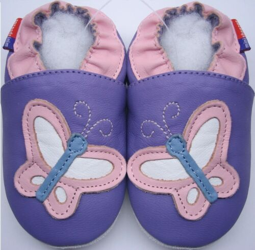 butterfly lilac  4-5 Toddler Minishoezoo soft sole leather shoes slippers