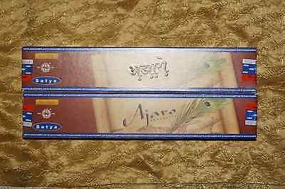 SATYA Nag Champa AJARO Incense 2x 15g sticks FREE SHIPPING LOT 2 Boxes 30 grams
