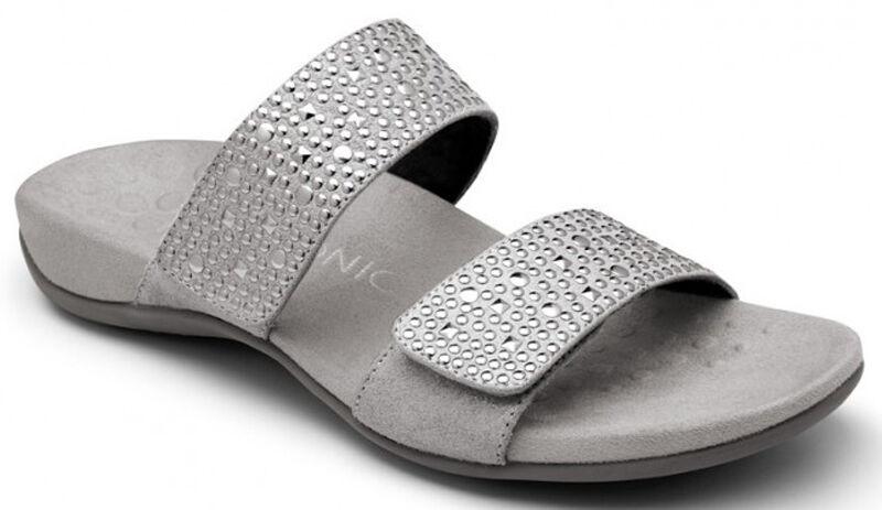 Vionic Samoa Women Orthotic Plantar Fasciitis Slide Sandal Medium Pewter 5 - 11