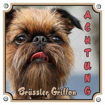 Brüssler Griffon - Hundeschild - Massives Metallschild - 1a Qualität Duftendes Aroma