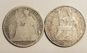 1902-amp-1913-French-Indo-China-Chine-Silver-10-Centimes-KM-9-Lot-of-2-Coins