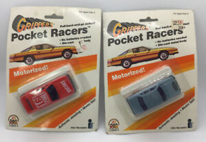 Vintage 1986 Grippers Pocket Racers Motorized Cars - New In Package - Lot Of 2