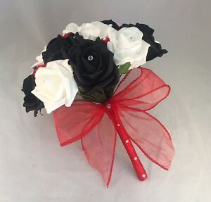 Artificial wedding flowers red black white foam rose wedding image is loading artificial wedding flowers red black white foam rose mightylinksfo