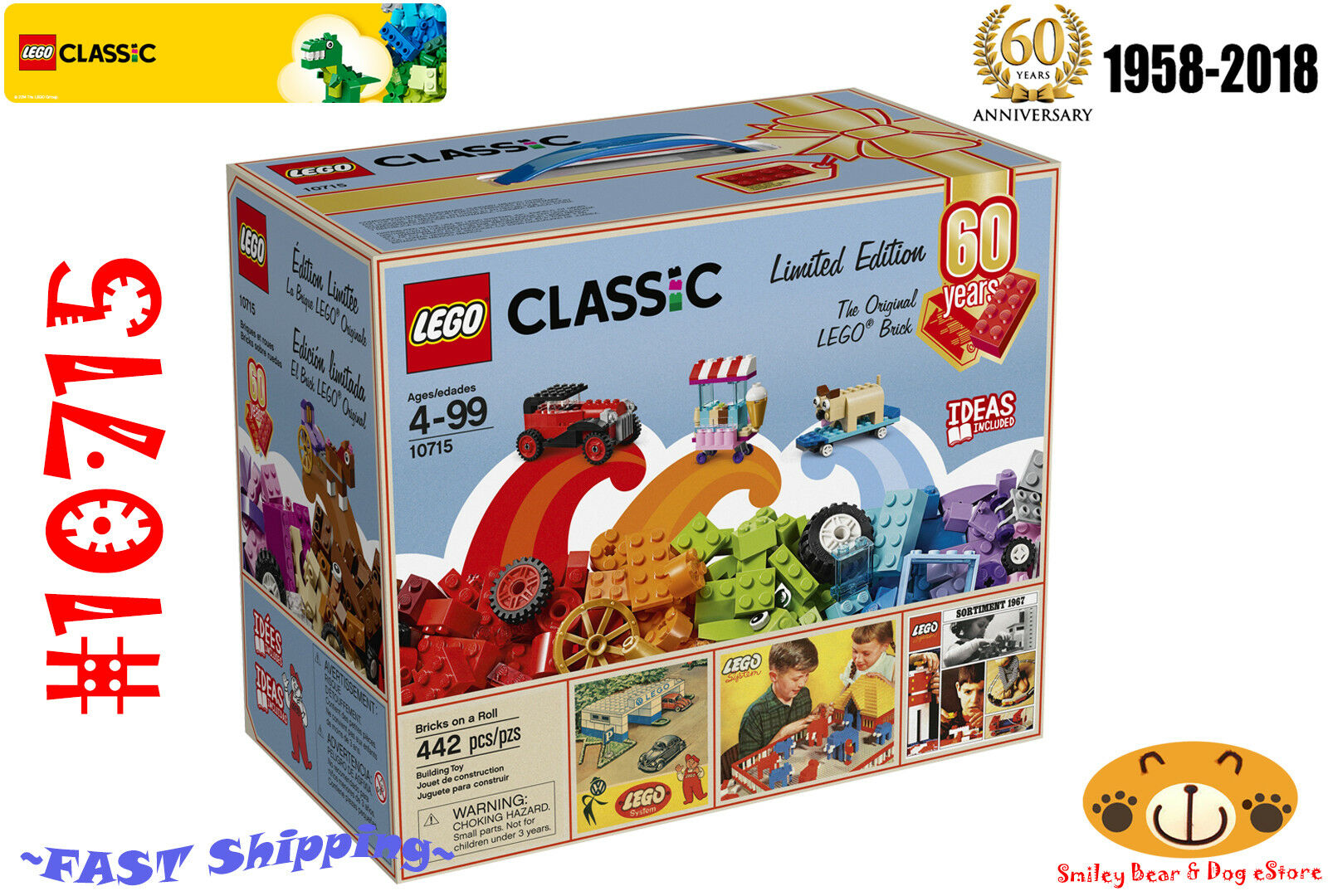 LEGO Classic 10715  60th Anniversary Limited Edition 442 pcs Age 4-99 NEW