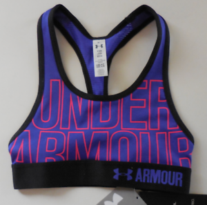 9ad575692f263 Under Armour Girl s HeatGear Graphic Bra Purple Black Red Size Youth ...