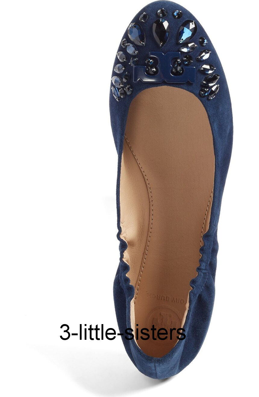 NEW Delphine Tory Burch Royal Navy Delphine NEW Embellished Crystal Jewel Ballet Flats 9.5 982b27