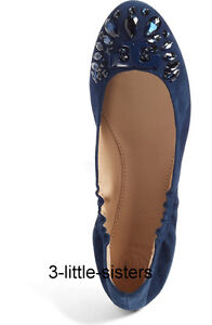 e7204a2090a14 Image is loading NEW-Tory-Burch-Royal-Navy-Delphine-Embellished-Crystal-