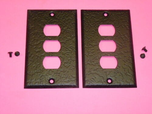 BELL INTERCHANGE 1-GANG ANTIQUE WROUGHT IRON FINISH WALL PLATE 2 3-HOLE NOS!