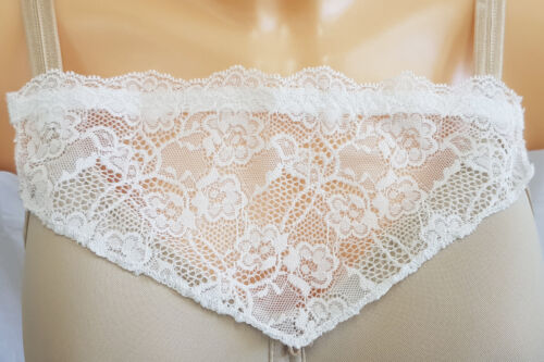 Instant Camisole Modesty Panel Chest Cover Up IVORY Lace Lace Bra Insert