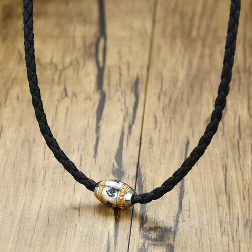 Men Braided Necklace Pendant Bead Lucky Mantra Verse Choker Surfer Biker Jewelry