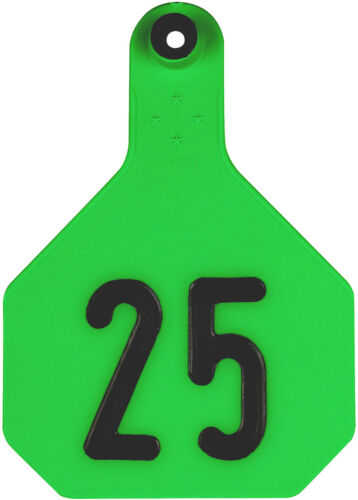 YTex 4 Star Large Green Cattle Ear Tags Numbered 1-25