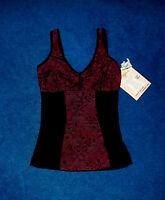 Lace Trim Black Raspberry Camisole Body Shaper Girdle Bra 36c Size Large