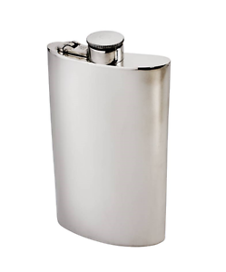 8oz Plain Pweter Kidney Hip Flask with captive top