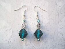 TEAL DIAMOND TWIST Lampwork Glass Foil Bead Pair Drop Earrings GIFT POUCH New