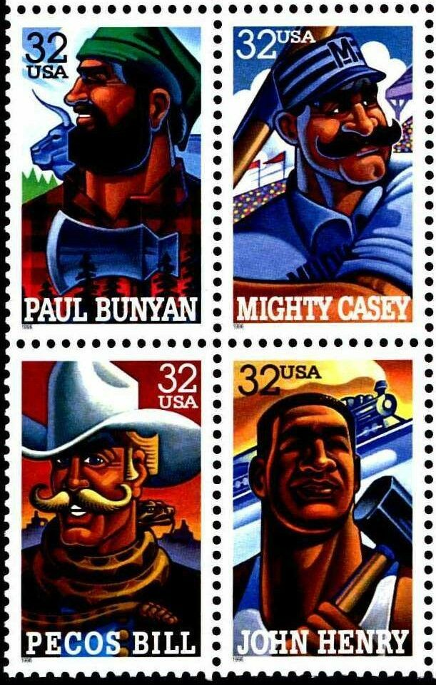 1996 32c Folk Heroes, John Henry, Block of 4 Scott 3083