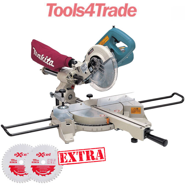 Makita LS0714/1 Chop Saw 190mm Slide Compound Mitre Saw 110V + 2 x Extra Blades