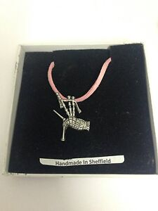 Bagpipes PP-G55 Motif Pewter  PENDENT ON A PINK CORD Necklace