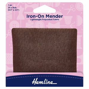 Brown Patch Polycotton Repair 24 x 9cm 1pc For Light to Medium Weight Fabrics